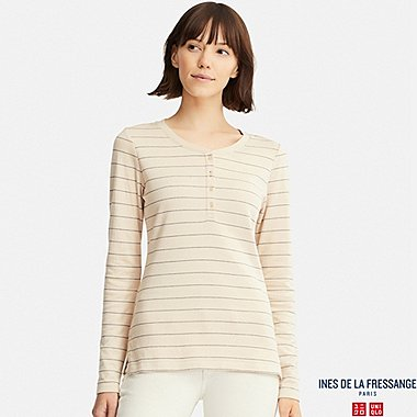 WOMEN INES DOUBLE FACE JERSEY HENLEY NECK T-SHIRT