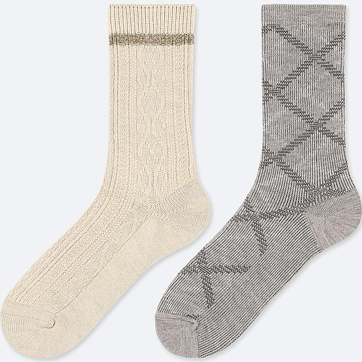 WOMEN HEATTECH CABLE SOCKS (2 PAIRS), NATURAL, large