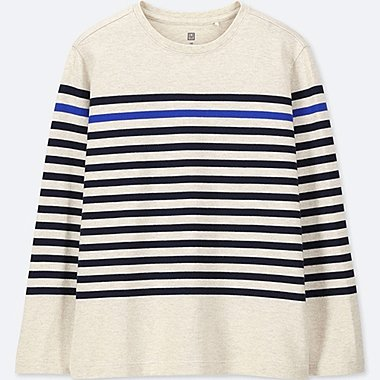 KIDS STRIPED LONG-SLEEVE T-SHIRT, NATURAL, medium