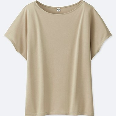 WOMEN DRAPE CREWNECK SHORT-SLEEVE T-SHIRT, NATURAL, medium
