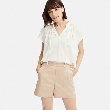 WOMEN SATIN SHORTS (ONLINE EXCLUSIVE), NATURAL, medium