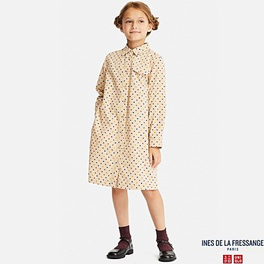 GIRLS CORDUROY LONG-SLEEVE DRESS (INES DE LA FRESSANGE), NATURAL, medium
