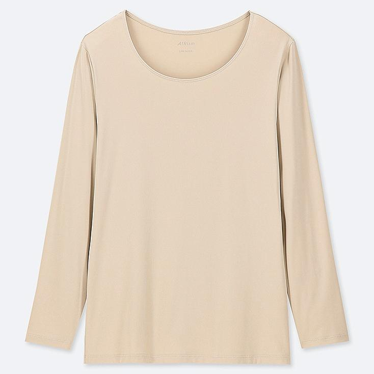 WOMEN AIRism UV-CUT CREW NECK LONG-SLEEVE T-SHIRT (ONLINE EXCLUSIVE), NATURAL, large