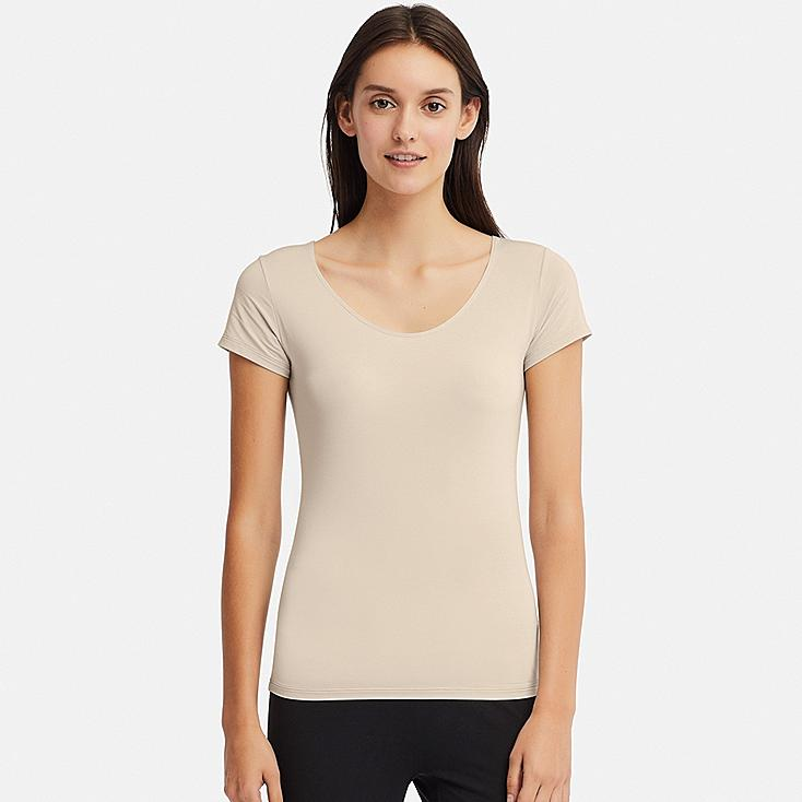 WOMEN AIRism SCOOP NECK SHORT-SLEEVE T-SHIRT, NATURAL, large