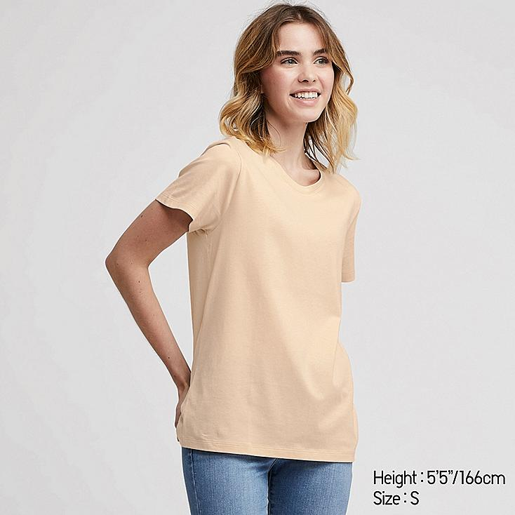 WOMEN SUPIMA® COTTON CREW NECK SHORT-SLEEVE T-SHIRT, NATURAL, large