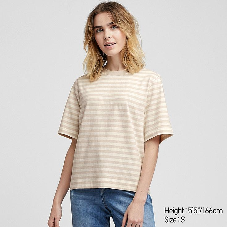 WOMEN STRIPED CROPPED CREW NECK SHORT-SLEEVE T-SHIRT, NATURAL, large