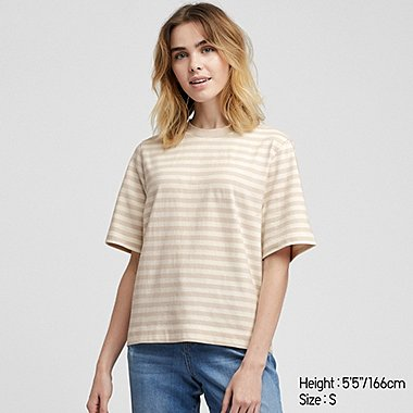 WOMEN STRIPED CROPPED SHORT SLEEVED T-SHIRT