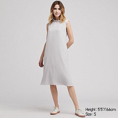 WOMEN DRAPE SLEEVELESS DRESS, NATURAL, medium