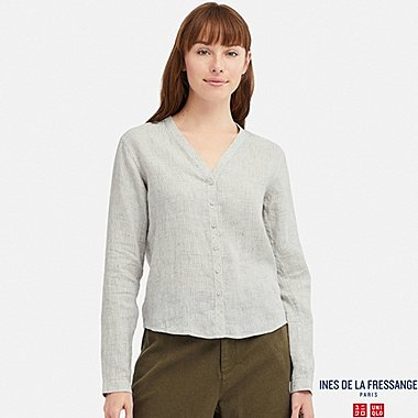 WOMEN INES LINEN V NECK LONG SLEEVED BLOUSE