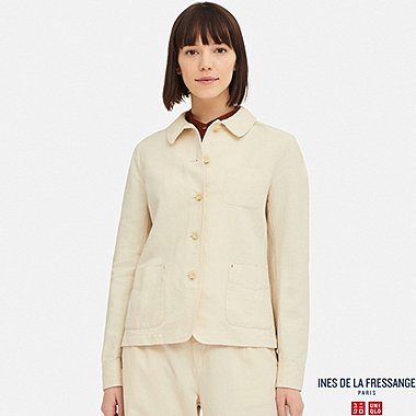 WOMEN LINEN COTTON COVERALL (INES DE LA FRESSANGE), NATURAL, medium