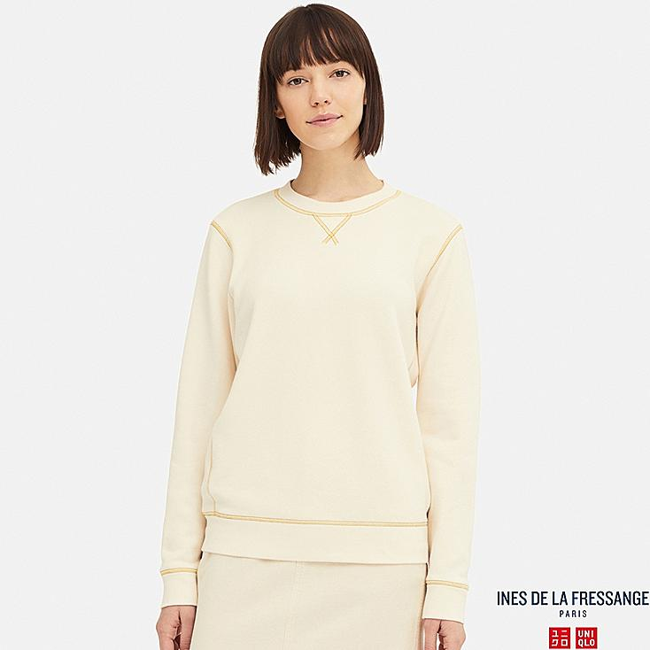 WOMEN FRENCH TERRY LONG-SLEEVE PULLOVER (INES DE LA FRESSANGE), NATURAL, large