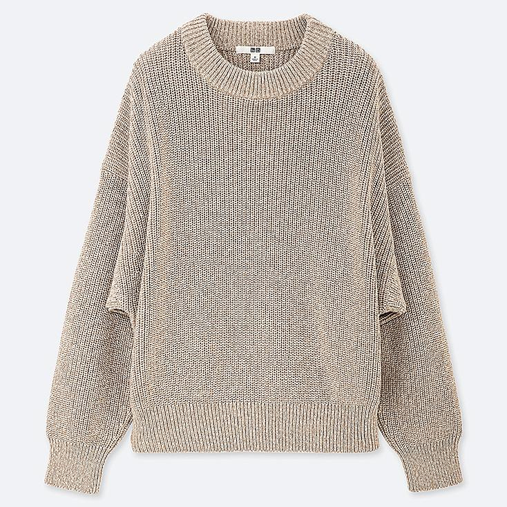 WOMEN COLOR MIXED DOLMAN SLEEVE SWEATER, NATURAL, large