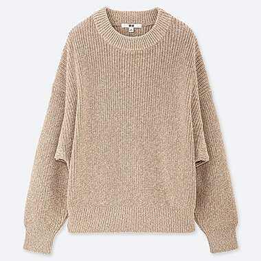 WOMEN COLOR MIXED DOLMAN SLEEVE SWEATER, NATURAL, medium
