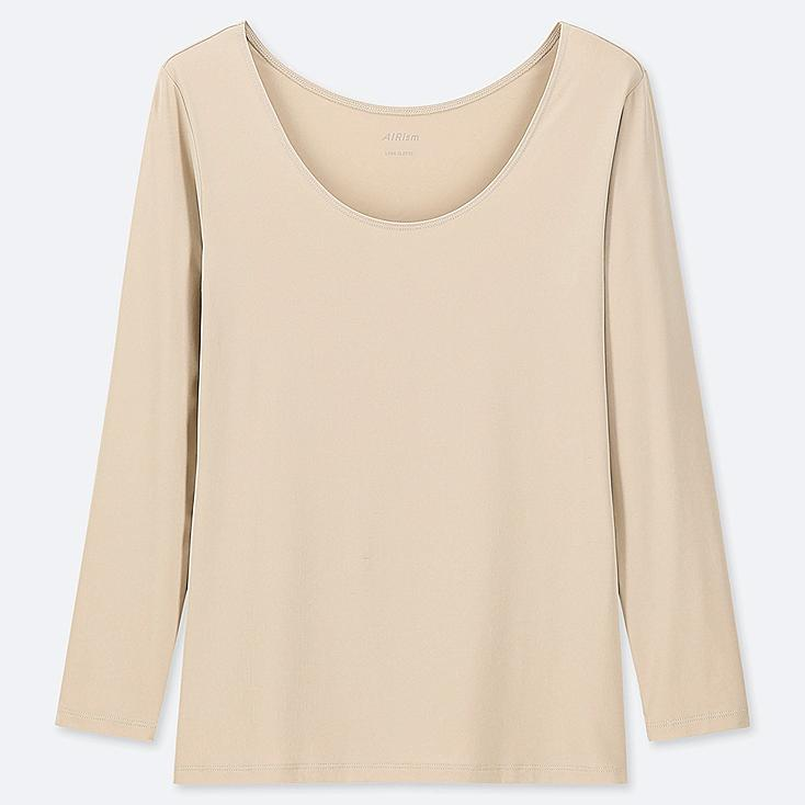 WOMEN AIRism UV CUT SCOOP NECK LONG-SLEEVE T-SHIRT, NATURAL, large