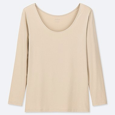 WOMEN AIRism UV CUT SCOOP NECK LONG-SLEEVE T-SHIRT, NATURAL, medium