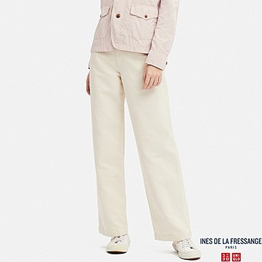 WOMEN LINEN COTTON RELAXED PANTS (INES DE LA FRESSANGE), NATURAL, medium