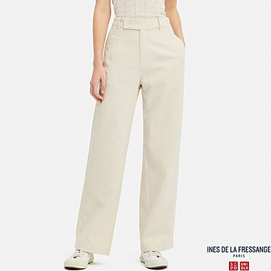 WOMEN LINEN COTTON WIDE PANTS (INES DE LA FRESSANGE), NATURAL, medium