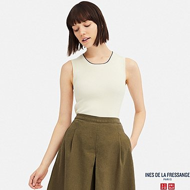 WOMEN INES SUPIMA COTTON RIBBED SLEEVELESS JUMPER