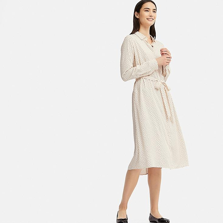 13252a8bf WOMEN RAYON DOTTED PRINT LONG SLEEVED DRESS