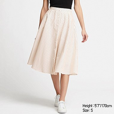 WOMEN FRONT BUTTON CIRCULAR SKIRT, NATURAL, medium