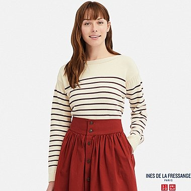 INES - PULL RAYÉ EN MAILLE COL BATEAU FEMME