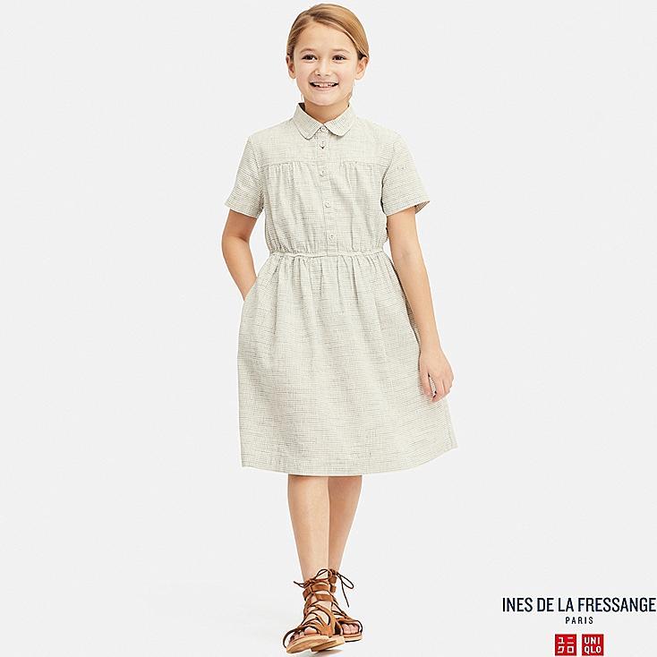 GIRLS LINEN COTTON TUCK SHORT-SLEEVE DRESS (INES DE LA FRESSANGE), NATURAL, large