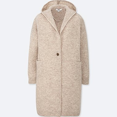 WOMEN WOOL HOODED KNITTED COAT, NATURAL, medium