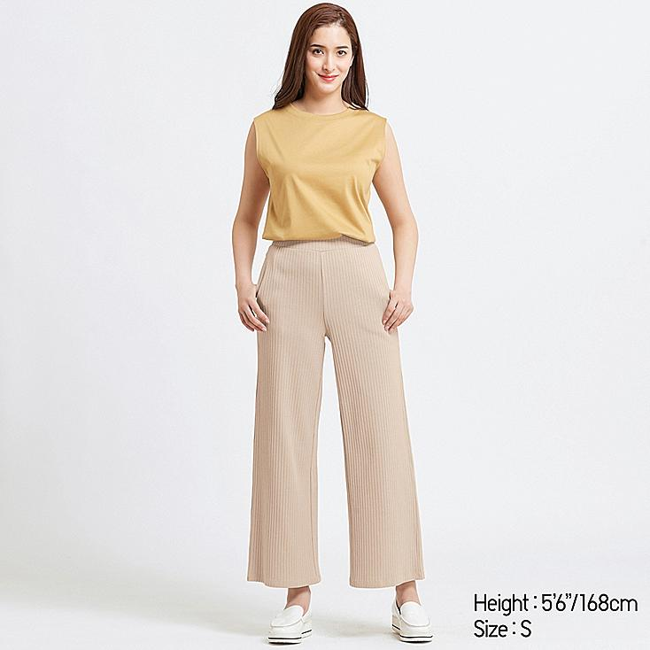 WOMEN COTTON RIBBED WIDE PANTS, NATURAL, large