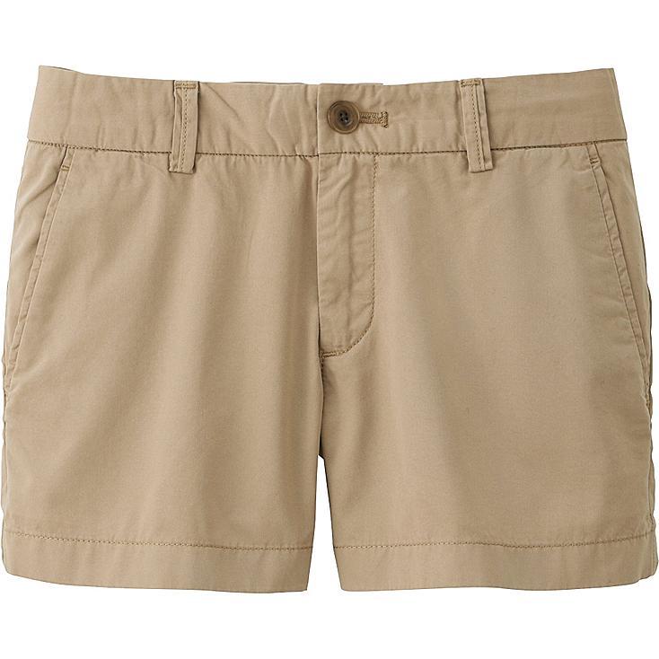 Women Chino Micro Shorts, BEIGE, large
