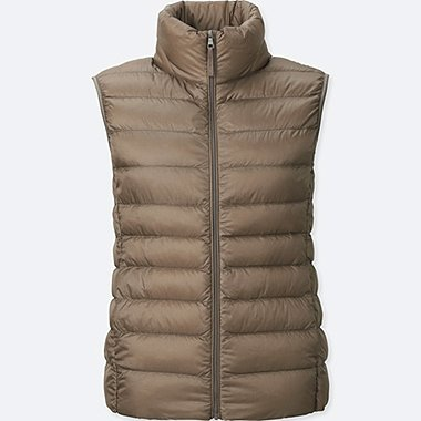 Womens Ultra Light Down Vest, BEIGE, medium