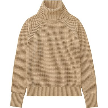 WOMEN CASHMERE BLEND TURTLENECK SWEATER, BEIGE, medium
