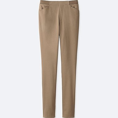 WOMEN HEATTECH HIGH RISE LEGGINGS PANTS, BEIGE, medium