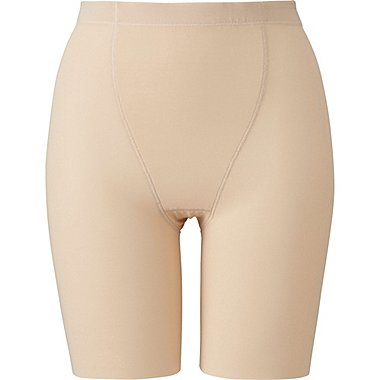 WOMEN BODY SHAPER NON-LINED HALF SHORTS, BEIGE, medium