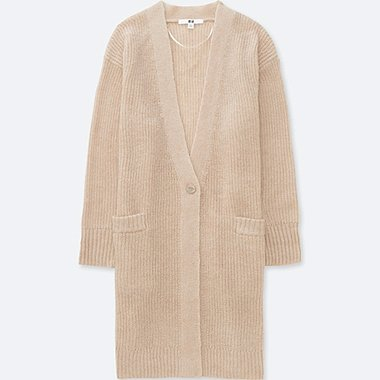 WOMEN MOHAIR BLEND LONG CARDIGAN, BEIGE, medium