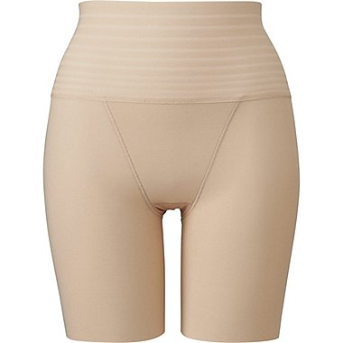 WOMEN BODY SHAPER HIGH RISE HALF SHORTS, BEIGE, medium