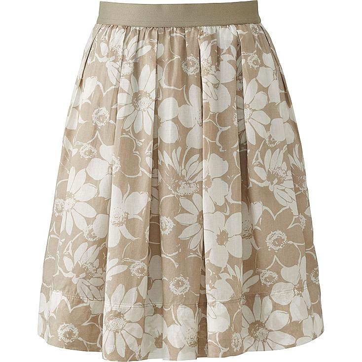 Women Printed Cotton Flared Skirt, BEIGE, large