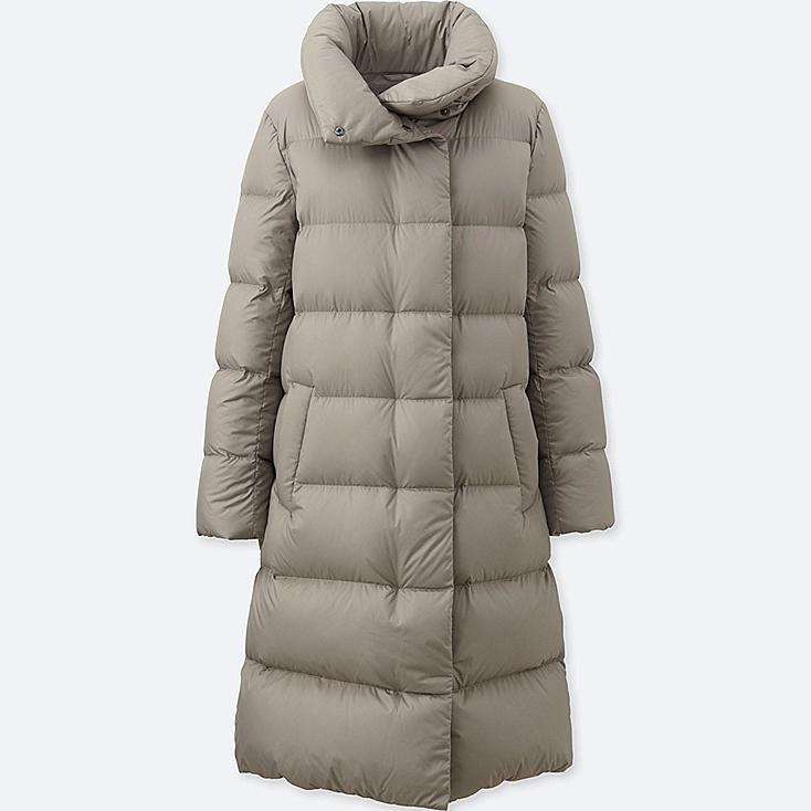 WOMEN LIGHTWEIGHT DOWN VOLUME COLLAR COAT, BEIGE, large