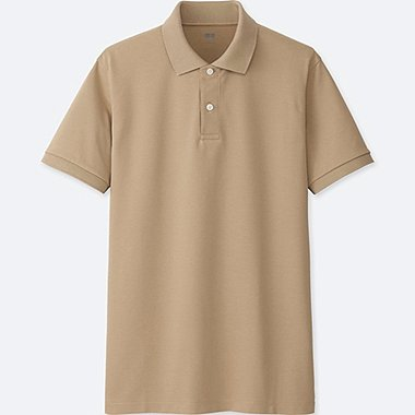 MEN DRY PIQUE SHORT SLEEVE POLO SHIRT, BEIGE, medium