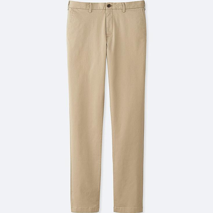 MEN SLIM FIT CHINO FLAT FRONT PANTS, BEIGE, large
