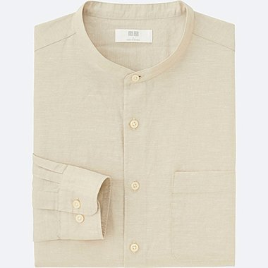 MEN Linen Cotton Stand Collar Long Sleeve Shirt