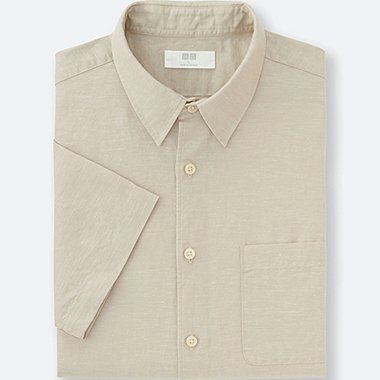 MEN Linen Cotton Short Sleeve Shirt
