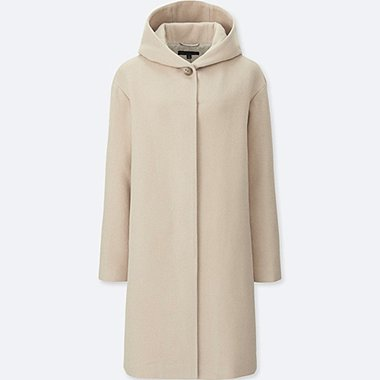 WOMEN SOFT WOOL BLEND HOODED COAT, BEIGE, medium