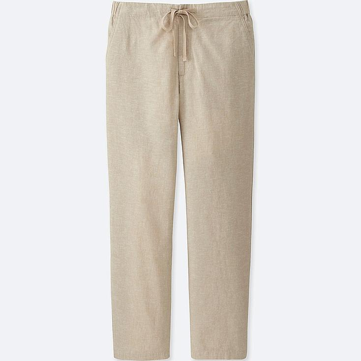 WOMEN COTTON LINEN RELAXED PANTS, BEIGE, large