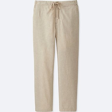 WOMEN COTTON LINEN RELAXED PANTS, BEIGE, medium