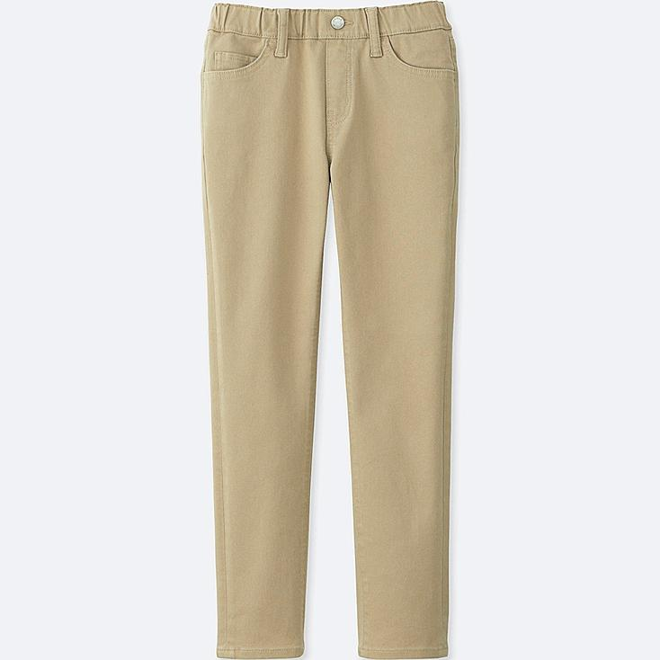 BOYS TWILL EASY SLIM FIT PANTS, BEIGE, large