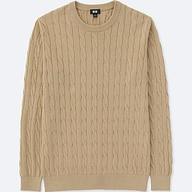 MEN Cotton Cashmere Cable Crew Neck Sweater