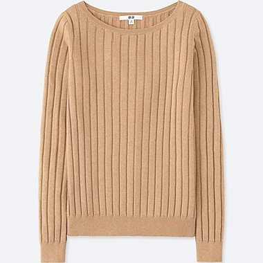 WOMEN COTTON CASHMERE WIDE RIBBED SWEATER, BEIGE, medium