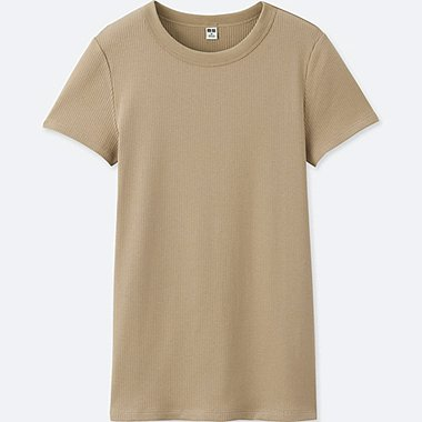 WOMEN Supima Cotton Ribbed Crew Neck Short Sleeve T-Shirt