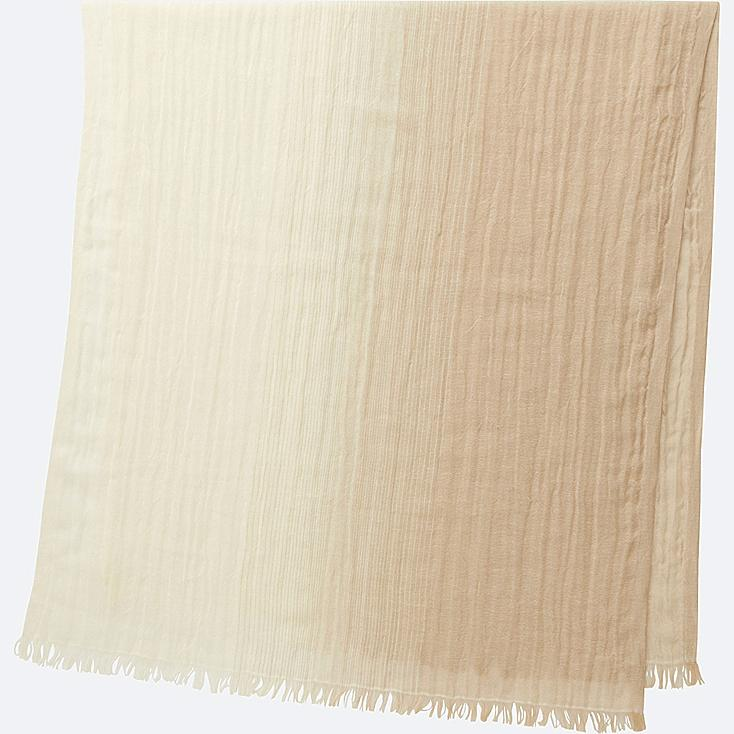 COTTON LINEN STOLE (GRADATION), BEIGE, large
