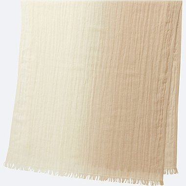 COTTON LINEN STOLE (GRADATION), BEIGE, medium